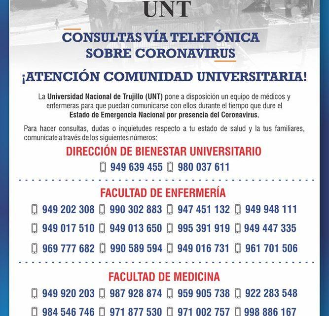 Las consultas telefónicas son parte del plan de acciones de la UNT frente al coronavirus