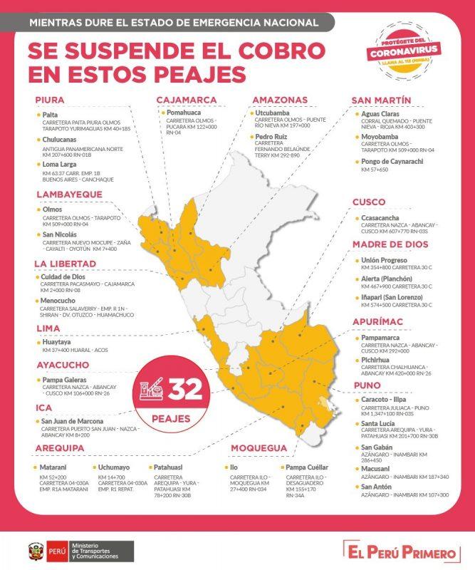 56 peajes del Perú no cobrarán
