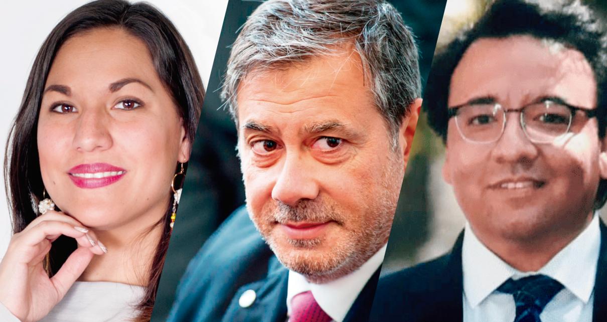 mexicana Adriana Caballero Galván en el Encuentro de Maestros, el argentino Guillermo Whpei y el chileno Rodrigo Faunes Correa
